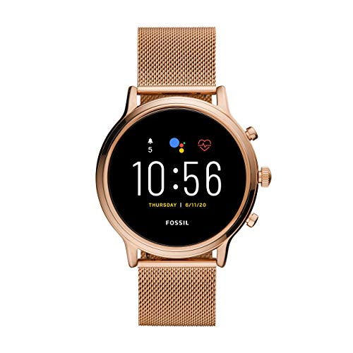 Fossil Gen 5 Julianna Rose Gold Stainless Steel Touchscreen Smartwatch with Speaker, Heart Rate, GPS, NFC, and Smartphone Notifications, FTW6062