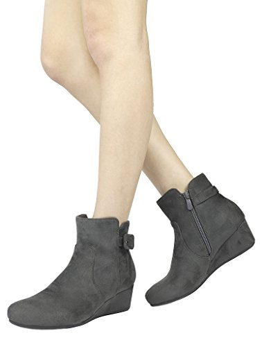 DREAM PAIRS Women's Lang Grey Low Wedge Heel Ankle Booties Size 8 M US