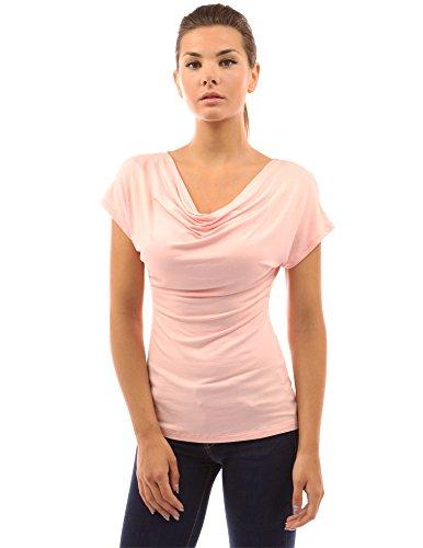 Sheer Cowl Neck - PattyBoutik Women Cowl Neck Short Sleeve Top (Peach Small)