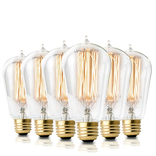 - Vintage Incandescent Edison Light Bulbs: 60 Watt, 2100K Warm White Lightbulbs - E26 Base - Dimmable Antique Filament Light Bulb Set - 6 pack
