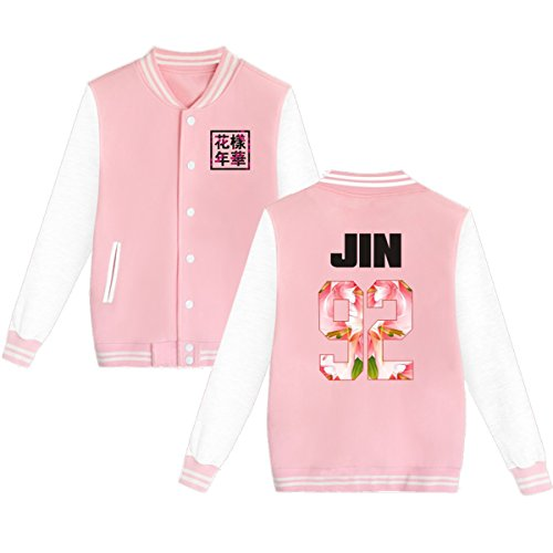 BTS Baseball Jacket Uniform Bangtan Boys Suga Jin Jimin Jung Kook Sweater Coat XL Pink JIN