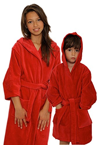 Kid's Terry Velour Hooded Robe 100% Pure Cotton Boys Girls Bathrobe(Red,L)