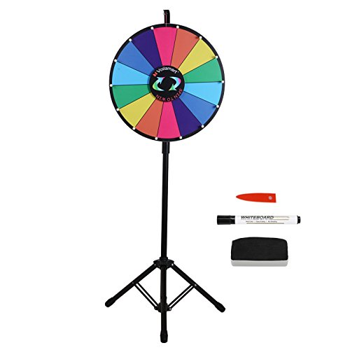 Voilamart 18 Inch Prize Wheel with Tripod Floor Stand Foldable 14 Slots with Color Dry Erase Trade Show Fortune Spinning Game