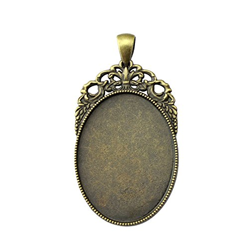 NEWME 7Pcs 30x40mm Oval Inner Size Antique Bronze Planted Fleur-De-Lys Perforation Single Side Necklace Pendant Setting Cabochon Cameo Base Tray Bezel Blank Fit Cabochons Jewelry Making Findings
