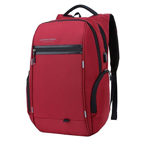 LUXUR 37L Laptop Backpack USB Charging Port Nylon Waterproof Casual School Business Travel Daypack (Laptop Bag Red)