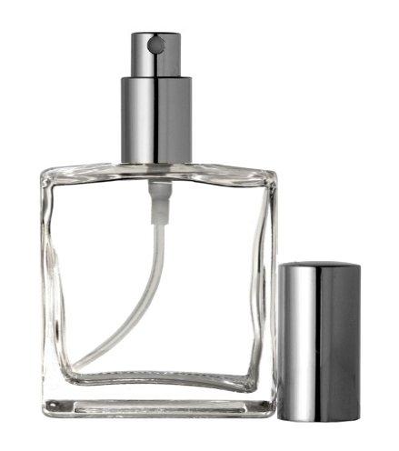 Large Perfume - Riverrun Large Perfume Cologne Atomizer Empty Refillable Glass Bottle Fine Mist Silver Sprayer 3.4 oz 100ml (1 Bottle)