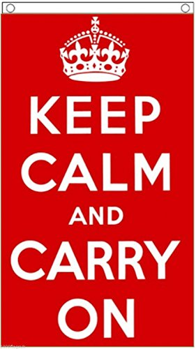 (Keep Calm And Carry On Hanging Flag 5'x3' (150cm x 90cm) - Woven Polyester)
