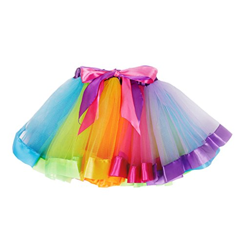 JiaDuo Girls Layered Rainbow Tutu Skirt Bow Dance Ruffle (Rainbow Birthday)