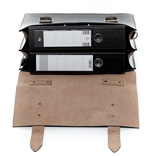 SID & VAIN® XL Aktentasche BRIGHTON - Unisex Laptoptasche XL groß Ledertasche 15,4 Zoll Laptop Extra-Abtrennung - Businesstasche Schultergurt Damen Herren echt Leder schwarz