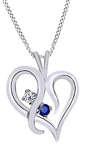 AFFY Simulated Blue Sapphire & Natural Diamond Heart Pendant Necklace in 14K Solid White Gold