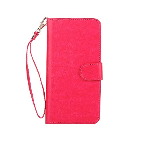 XHD-screen protector Card Bag and Wallet Two in One Style Phone Case for iPhone 7Plus/8Plus Game Cover with Magnetised Adsorption (Color : Rose) (Xhd Card)