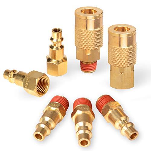 PowRyte Elite 7-Piece 1/4-Inch Industrial Solid Brass Quick Coupler Set