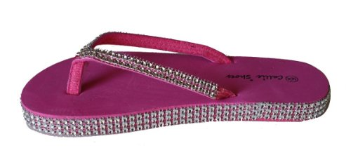 Rhinestones Flip Sparkling and Straps Womens BEUATY with LA Flop Pink Around q8Ataw