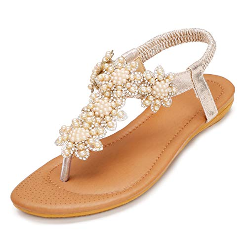 WESIDOM Women Flat Sandals,Rhinestone T-Strap Elastic Strap Rubber Sole Shoes for Summer ()