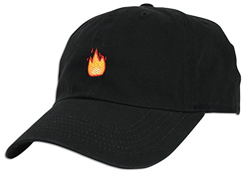 d96939da6ea Fire Emoji Baseball Cap Curved Bill Dad Hat 100% Cotton Lit Hot Flame Solid  NEW (Black) at Amazon Women s Clothing store