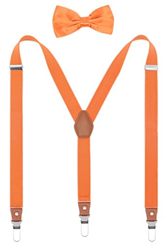 Orange Bowties (Men Leather Suspenders and Pre Tied Bowtie Set Strong Clips Braces for Trousers (Orange))