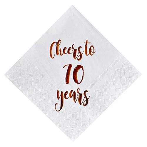 Cheers to 70 Years Cocktail Napkins, 50-Pack 3ply White Rose Gold 70th Birthday Dinner Celebration Party Decoration Napkin