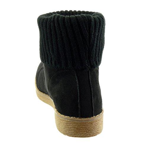 Bloc Cm Chaussure Talon Bottine Haut 2 Noir Coutures Intérieur Mode 15vx6tqw
