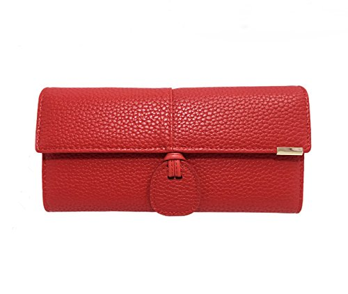 Rfid Blocking Leather wallet for women Girls,ladies long purse Large Capacity(Red) by YOTOO