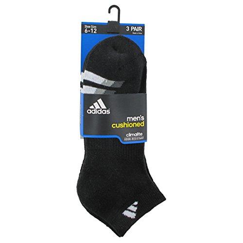 Adidas Men's Cushioned Low Cut Socks (3 Pack),Black/White/Light Onix/Granite,X-Large