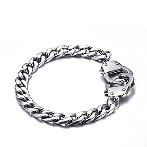 HOUSWEETY 1pc Stainless Steel Figaro Chain Handcuff Bracelet