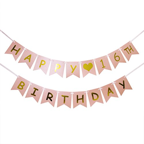 INNORU Happy 16th Birthday Banner - Pink and Gold 16th Birthday Decorations - Sweet 16 - Milestone Happy Birthday Decorations for $<!--$11.99-->