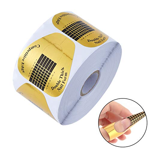 SOMIER 500pcs Professional Nail Extension Guide Stickers French Nail Forms Golden Nail Art Tips for Polygel UV Acrylic Gel