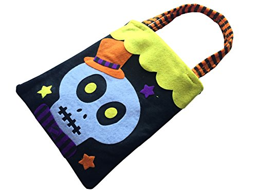 Halloween Costumes U Can Make Home (Halloween Trick or Treat Candy Bag for Kids with Assorted Designs of Pumpink, Black Cat, Witch, Ghost, Skull, Bat, and Spider by DEPTO)