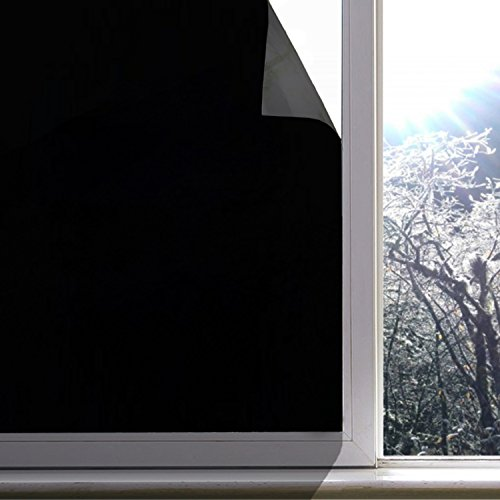 Blackout Window Film, Static Cling Window Tint 100% Light Blocking Glass Film for Privacy, Nap Time, Night Working, Heat Rejection, Baby Room and Day Sleeping (Matte Black, 17.7x78.7 Inch) by Jahoot