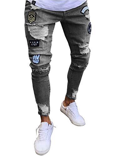 Gris Pitillo Agujero Jeans Vaqueros Suncaya Hombres Pantalones Pantalón Personalidad Elasticos tTzqZHwW