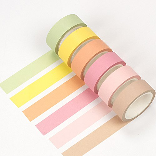 Max Corner Plain Pastel Washi Tape Pack 12 Rolls Set, Masking Tape for Scrapbook, Multicolored Decorative Tapes Crafts Supplies