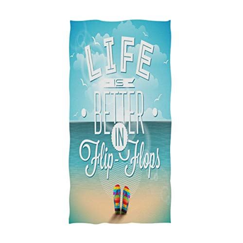 (Naanle Summer Beach Life is Better in Flip-Flops Pattern Soft Highly Absorbent Large Decorative Hand Towels Multipurpose for Bathroom, Hotel, Gym and Spa (16 x 30 Inches))