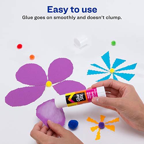 Avery Glue Stic White,1.27 oz., Washable, Nontoxic, Permanent Adhesive, 6 Glue Sticks for Kids (98073)
