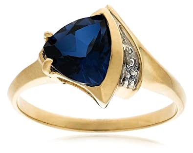 6a119b555dcac Amazon.com: 10k Yellow Gold Trillion-Cut Lab-Created Sapphire Ring w ...