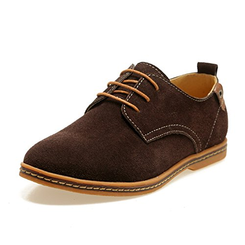 GoMotion Mens Classic Leather Oxford Lace Up Flats Shoes Loafers Brown Clw9AXaNQx
