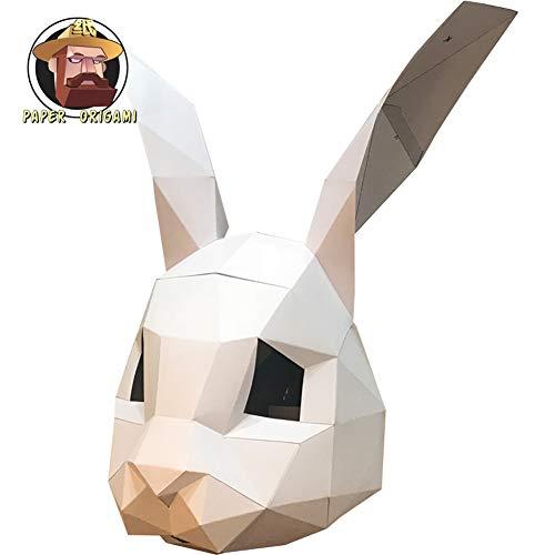ZYWX DIY Rabbit Animal Paper Mold DIY Material Party Masquerade, Christmas/Halloween Mask,White]()