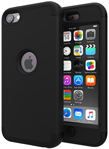 iPod Touch 7 Case,iPod Touch 6 Case,SLMY(TM) Heavy Duty High Impact Armor Case Cover Protective Case for Apple iPod Touch 5/6/7th Generation Black/Black (Ipod Touch 5 Generation Cases)