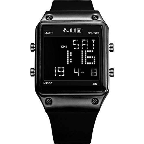 Watch Face Casual Square - Top Plaza Black Digital Sports Watch Silicone Band LED Screen Square Face Military Watches Waterproof Casual Luminous Stopwatch Alarm Simple Army Watch for Mens Womens - Black Case