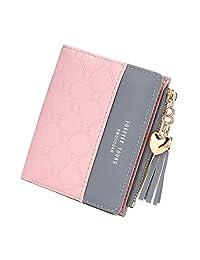 JOSEKO Tassel PU Leather Multi-Slots Small Wallet Slim Card Holder Purse for Women