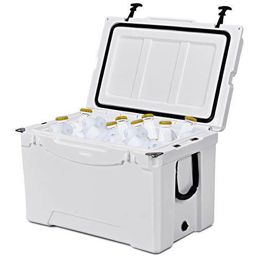 Giantex 80 Quart Portable Cooler Rolling Ice Chest Outdoor Insulated Heavy Duty Cooler with Castors for Fishing Hunting Sports ()