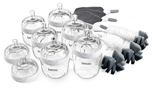 Baby Brezza Premium Baby Bottle Starter Gift Set - Pack of 6 Bottles and 8 Nipples Plus Bottle Brush and Cleaning Cloths - Kit is Great for Newborns and Infants - Bulk Baby Feeding Bottle Set