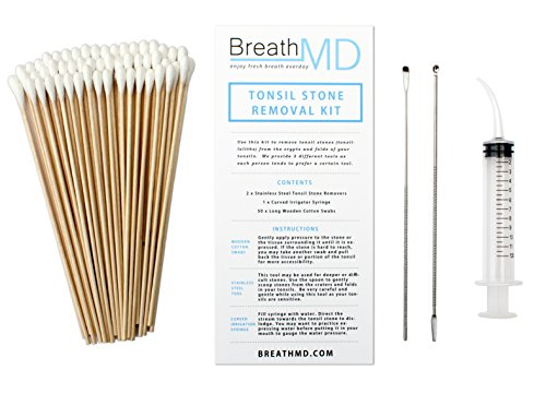 Tonsil Stone Removal Kit - 2 Remover Tools + 50 Swabs + 1 Syringe (Best Way To Remove Tonsil Stones)