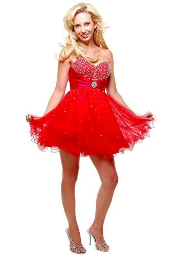 Strapless Cocktail Party Junior Prom Dress #697 (16, Red)