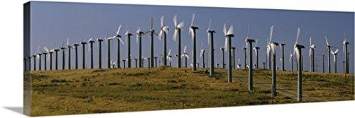 Canvas On Demand Premium Thick-Wrap Canvas Wall Art Print entitled Wind turbines on a landscape, Livermore, California - Livermore Premium