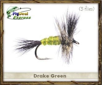 Fly Fishing Flies - DRAKE GREEN - Dry Fly (3-pack) Green Drake Flies