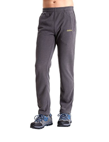 Clothin Men/Women Polar Fleece Thermal Sweatpants (Men Gray US L)