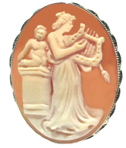 Frame Shell Cameo Pin - Goddess of Music Calliope Master Carved Cameo Pin Pendant Sterling Silver Frame Italian Carnelian Shell