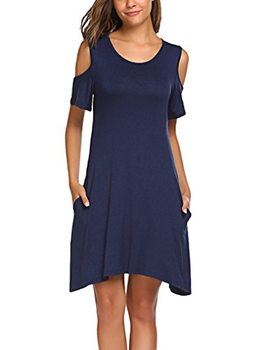 OURS Ladies Short Sleeve Pocket Midi Dresses Casual Loose A-Line Dress Navy Blue S