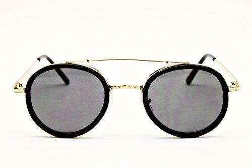 V175-vp Metal Bridge Hipsters Round Sunglasses (JENS Black/Gold)