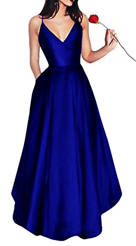 Yangprom Long Spaghetti Straps V-Neck Satin A-line Prom Dress with Pockets (12, Royal ()